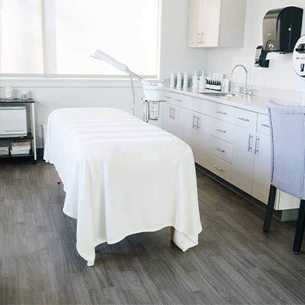 Prepped Aesthetician bed