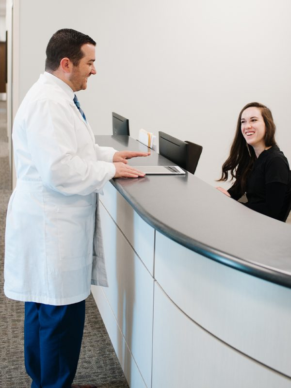 Dr. Gale and the team at reception desk